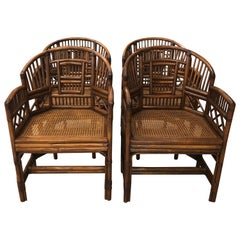 Vintage Set of Four Rattan Chinese Chippendale Brighton Style Arm Dining Chairs