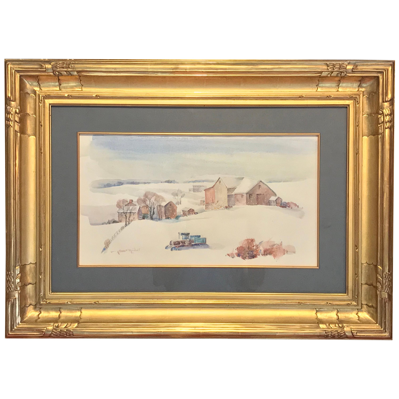 """Arthur Meltzer """"Winter Farm Landscape"""" Watercolor"""