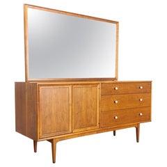 Midcentury Kipp Stewart Drexel Declaration Wood Lowboy Dresser with Mirror