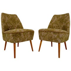 Pair of 1950s Cocktail Club Chairs in Original Green Fabric, Switzerland