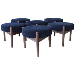 Walnut Stools with Suede Upholstered Seats, Sold Individually.