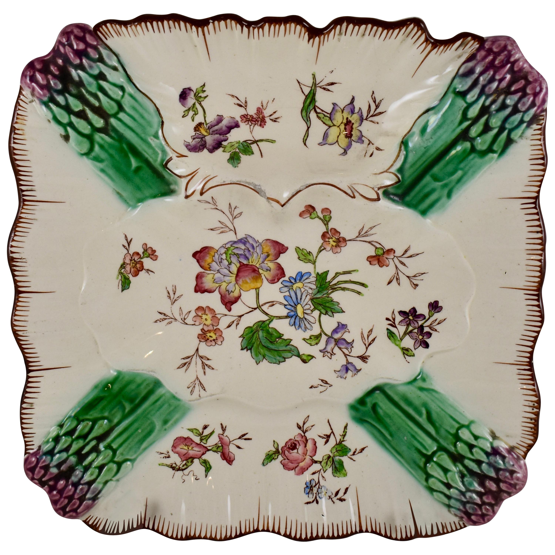 French Faïence Longchamp Terre de Fer Hand-Painted Asparagus Plate