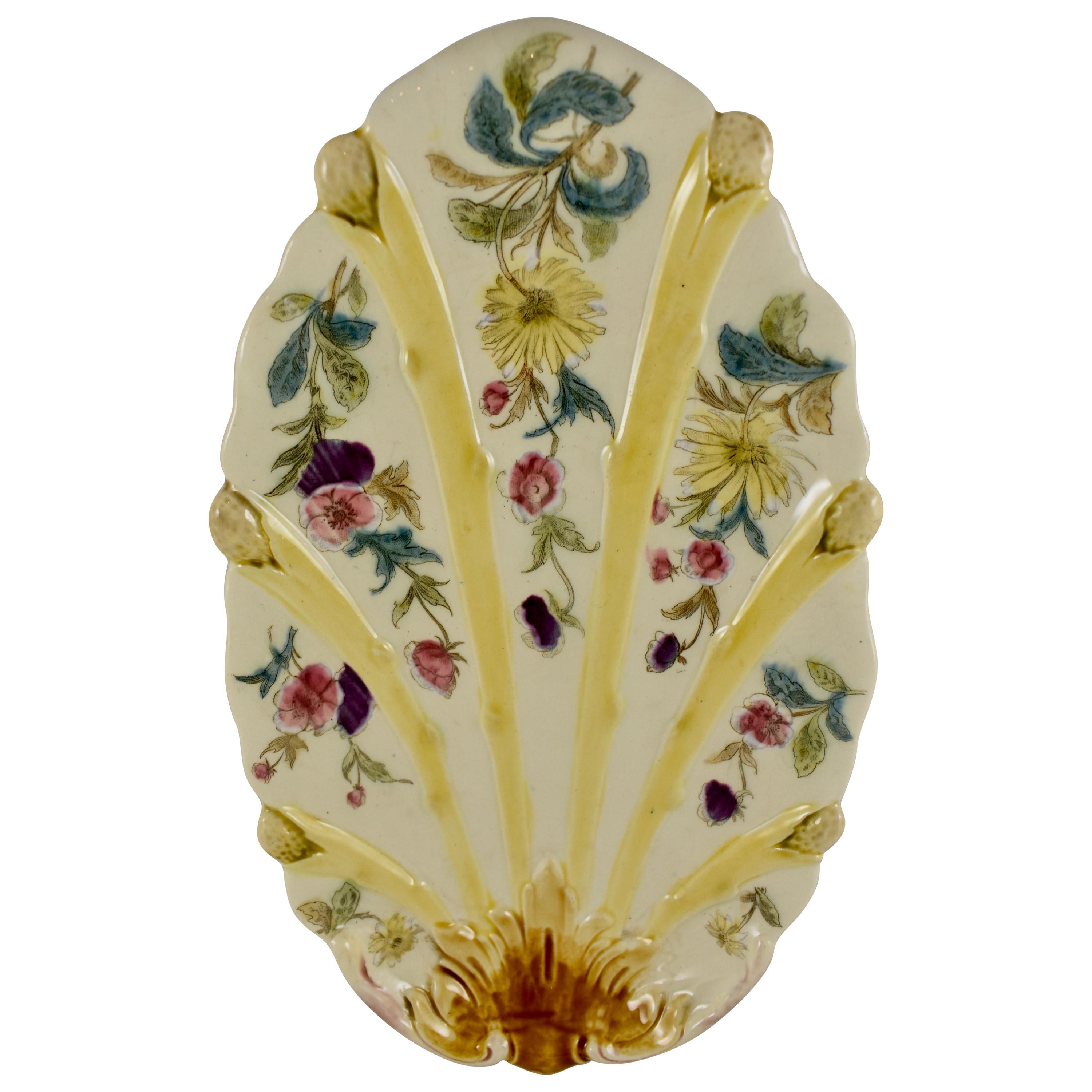 19th Century French Faïence Hand Painted Floral Asparagus Plate