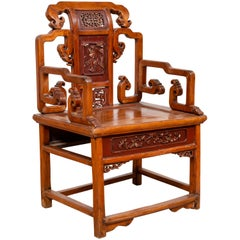 Hand Carved Antique Chinese Chair with Natural Wood Patina and Scroll Décor
