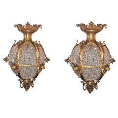 Pair of Palatial Doré Bronze Circular Crystal Beaded Ball Chandeliers