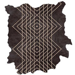 Black on Natural, Intersection H.6., Hand Dyed Cowhide Rug by AVO