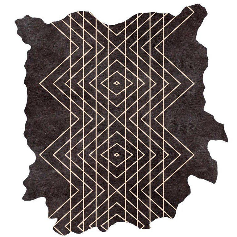 Black on Natural, Intersection H.6., Hand Dyed Cowhide Rug by AVO For Sale