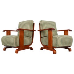 Art Deco Austrian Armchairs from Vienna in Walnut and Olive Green Velvet Blend