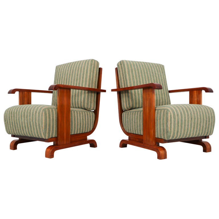 Art Deco Austrian Armchairs from Vienna in Walnut and Olive Green Velvet Blend For Sale