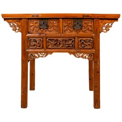 Antique Chinese Console Table with Hand Carved Décor of Birds and Flowers