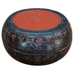 Vintage Chinese Wedding Box Painted Butterfly Red Black Pouf Prop Kanji Wooden