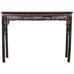 Chinese Antique Parcel-Gilt Black Altar Console Table with Carved Floral Décor