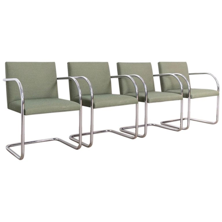 Mies van der Rohe Green Brno Chrome Cantilever Dining Chairs, Set of 4 For Sale