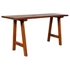 Rustic Indonesian 19th Century Teak Wood Console Table with A-Frame Base
