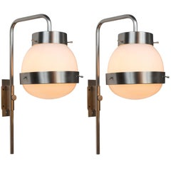 Pair of 1960s Sergio Mazza 'Delta' Wall Lights for Artemide
