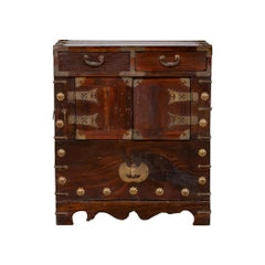 Korean 19th Century Side Chest with Brushed Brass Hardware, Drawers and Doors