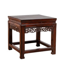 Chinese Vintage Side Table with Dark Wood Patina and Hand Carved Foliage Décor
