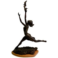 Art Deco Style Bronze Sculpture of a Woman Reaching for Seagulls by M. Young