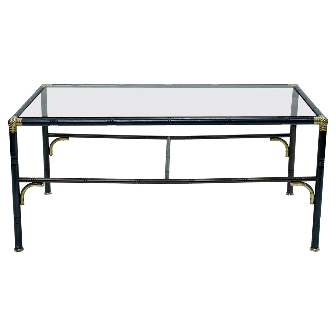 Hollywood Regency Steel and Brass Faux Bamboo Coffee Table, Smoked Glass Top