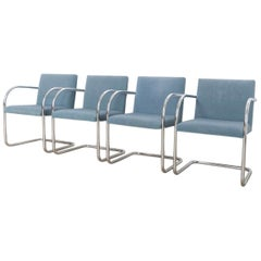 Mies van der Rohe Blue BRNO Chrome Cantilever Dining Chairs, Set of 4