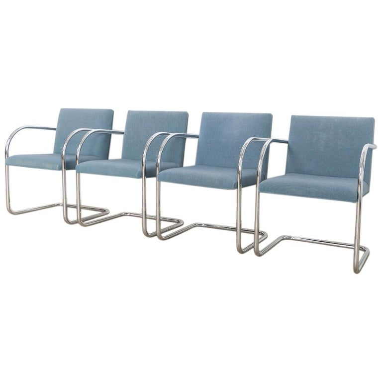 Mies van der Rohe Blue BRNO Chrome Cantilever Dining Chairs, Set of 4 For Sale