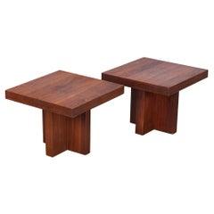 Pair of Milo Baughman Walnut Side Tables Model 1922 for Thayer Coggin