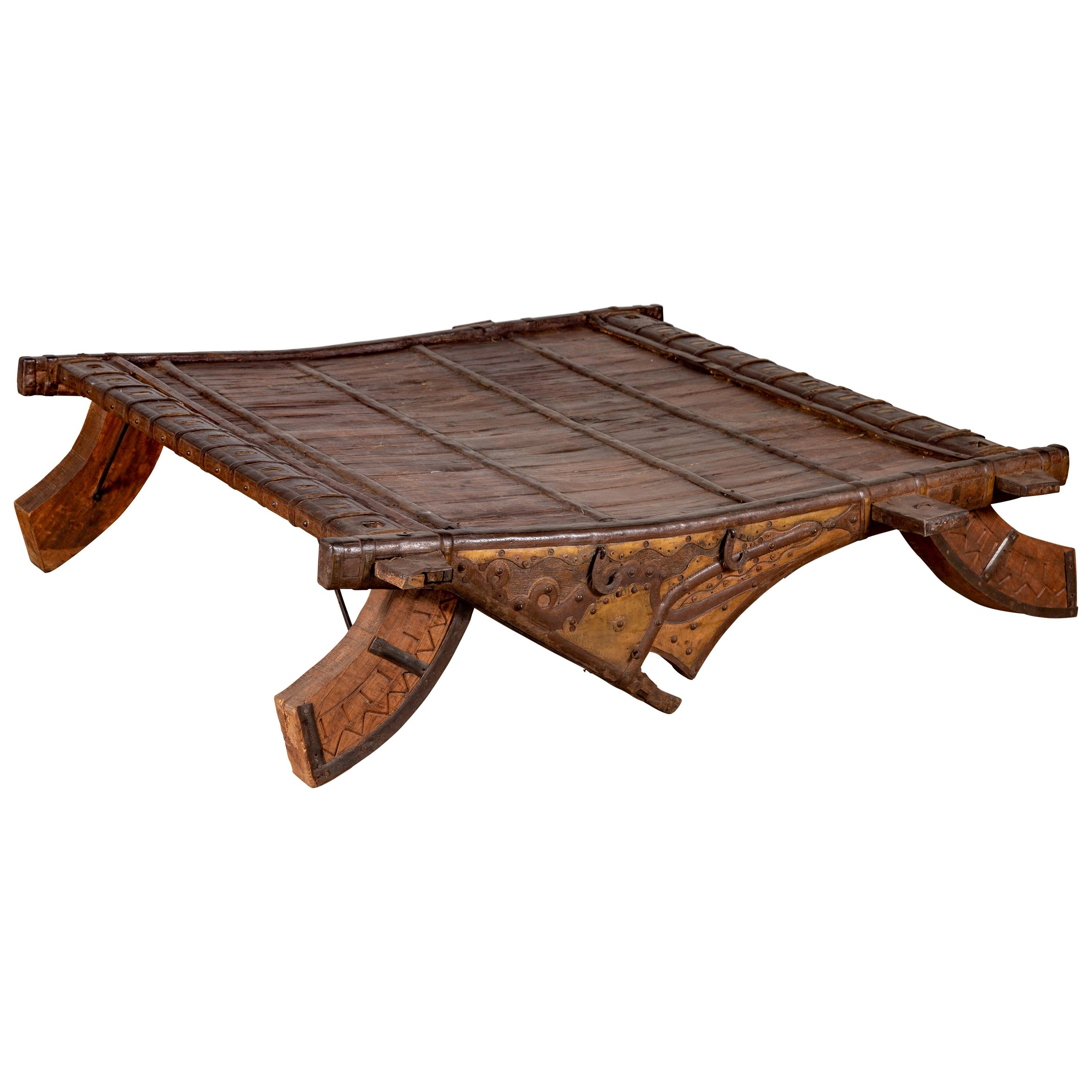 Antique Indian Rustic Wooden Ox Cart with Metal Accents Made into a Coffee Table