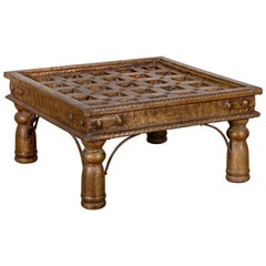 Indian Geometric Top Wood and Brass Window Grate Made into a Coffee Table