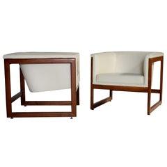 Milo Baughman Floating Cube Club Chairs