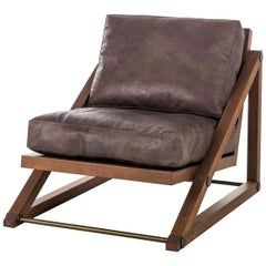 Contemporary Armchair in Espresso Leather with Bronze Detailing