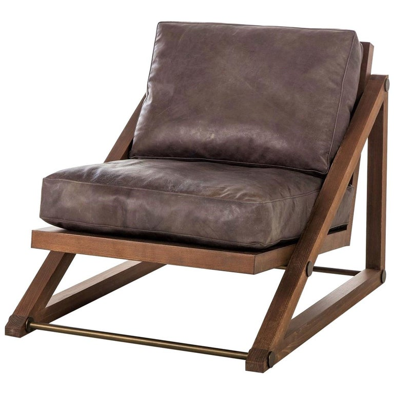 Contemporary Armchair in Espresso Leather with Bronze Detailing For Sale