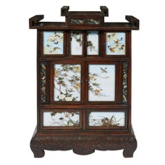 Japanese Table Cabinet with Cloisonne Panels Attributed to Namikawa Sosuke