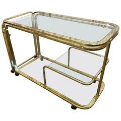 Milo Baughman Style Brass Bar Cart by Design Institute of America