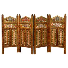 Indian Multi-Color Open Fretwork Hand Carved and Hand Painted Four-Panel Screen