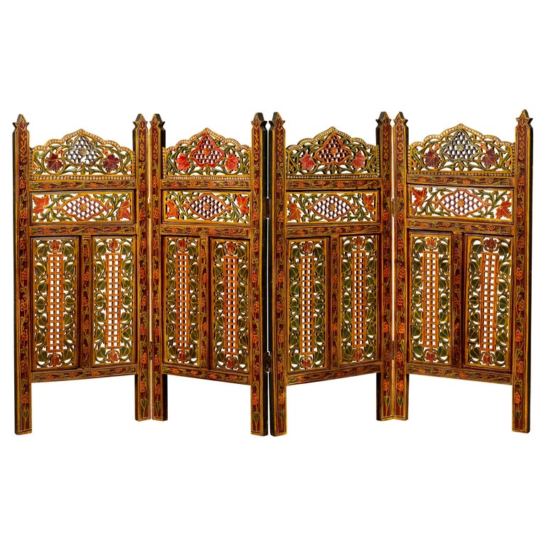 Indian Multi-Color Open Fretwork Hand Carved and Hand Painted Four-Panel Screen For Sale