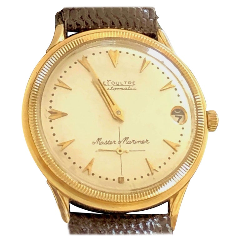 Le Coultre Men's Master Mariner 14-Karat Gold Watch with Box and Papers For Sale