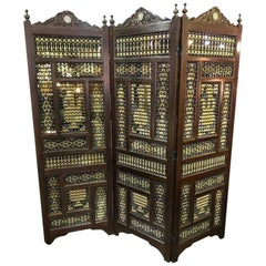 Syrian Moorish Inlaid Stick and Ball Three Panel Heavy Ornate Wood Screen