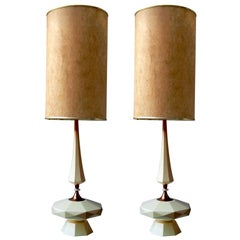 Table Lamp Mid-Century Modern Architectural Wood and Brass, 1950s