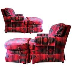 Vintage Ralph Lauren Wool & Cashmere Ganado Navajo Deep Red Armchair & Ottoman