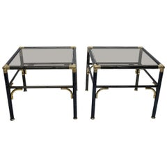 Hollywood Regency Faux Bamboo Steel and Brass Side Tables with Smoked Glass Tops
