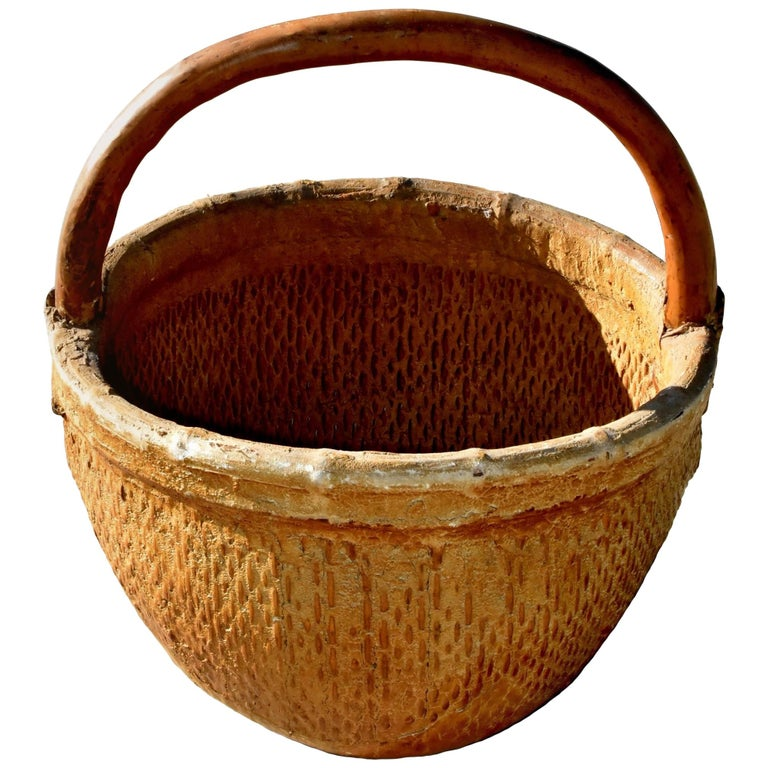 Antique Chinese Country Willow Basket, with Tree Branch Handle and Iron Brackets For Sale
