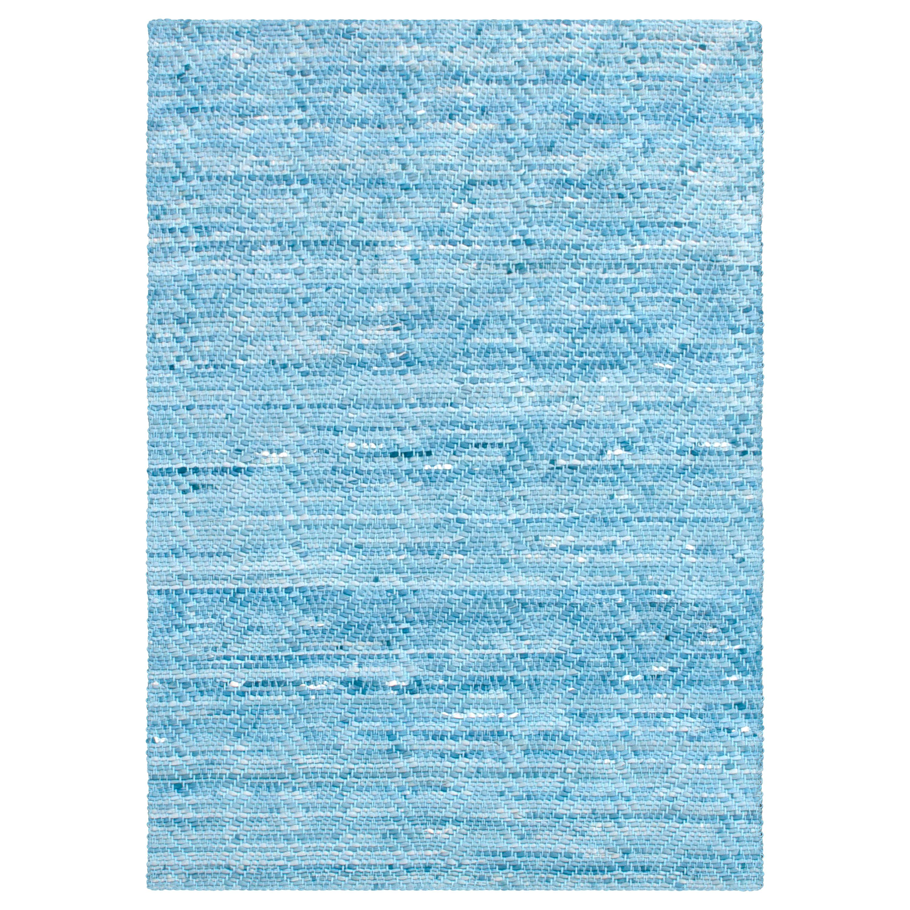 Light Blue Wave Woven Leather Rug Hand Dyed By Avo For At 1stdibs