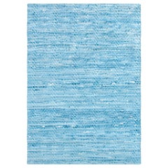 Light Blue, Wave Woven Leather Rug, Hand-Dyed Leather by AVO
