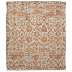 Rust Burnt Orange and Silver Silk Hand-Knotted Ikat Rug
