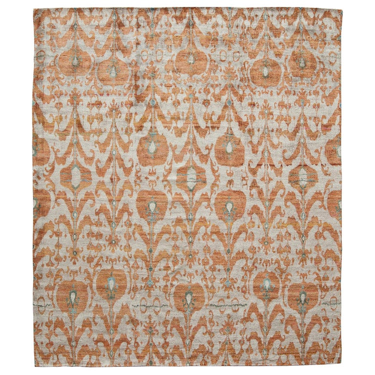 Rust Burnt Orange and Silver Silk Hand-Knotted Ikat Rug For Sale