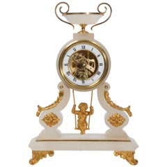 Rare Cherub on a Swing Antique French Boudoir Clock with Visible Escapement