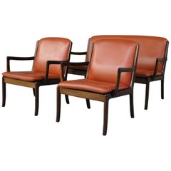 Ole Wanscher Set, Two-Seat Sofa and Two Lounge Chairs, Cognac and Mahogany