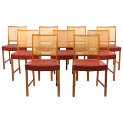 Erik Wørts Nine Dining Chairs, Oak, Cane, Red Leather, 1950s