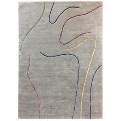 Hand Tufted Grey Wool Rug With Multicolor Lines Designed by Carpets CC