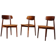 Harry Østergaard, Three Chairs in Rosewood and Nubuck Leather, 1960s